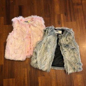 Two Faux-Fur Toddler Vests